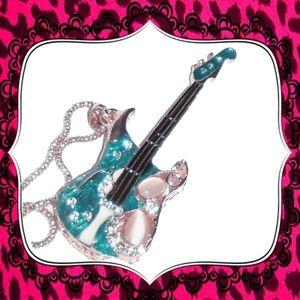 Betsey Johnson Bling Teal Guitar Pendant on Chain